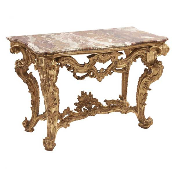 Mahogany Rococo Style Antique Gold Carved Marble Top Console Table