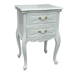Mahogany French Style Ivory Bedside Table