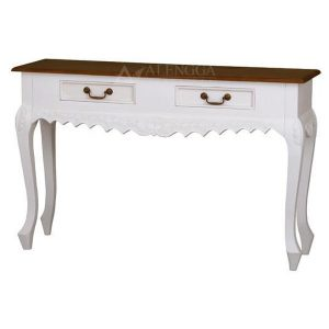 Mahogany French Style Antique White Two Drawers Hall Console Table