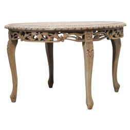 Mahogany French Style Antique Cream Hand Carved Round Dining Table