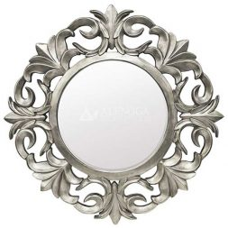 Mahogany French Style Silver Leaf Hand Carved Round Wall Mirror