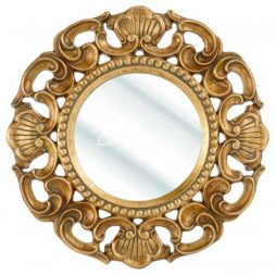 Mahogany Rococo Style Antique Gold Hand Carved Round Wall Mirror