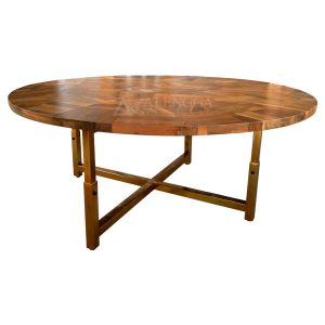 Reclaimed Teak Wood Industrial Steel Style Gold Leg Round Dining Table