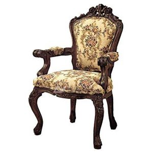 Mahogany Victorian Style Dark Brown Upholstered Arm Dining Chair