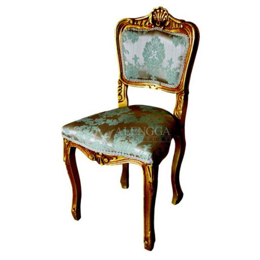 Mahogany French Style Antique Gold Floral Upholstered Side Dining Chair