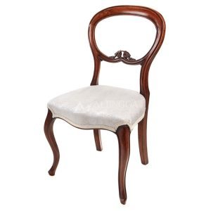 Mahogany French Victorian Style Brown Upholstered Side Dining Chair