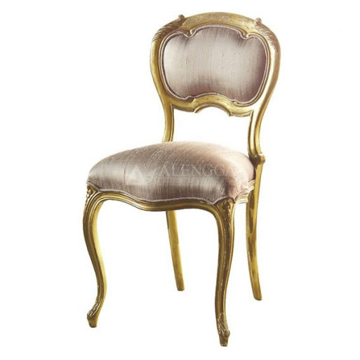 Mahogany French Style Antique Gold Leaf Upholstered Side Dining Chair