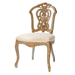 Mahogany French Style White Gold Leaf Upholstery Side Dining Chair