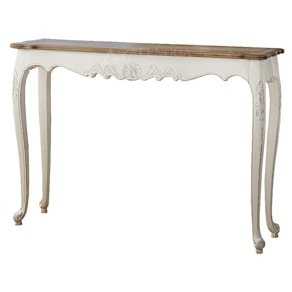 Mahogany French Style Antique White Hand Carved Hall Console Table