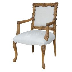 Teak Wood Traditional Style Natural Teak Upholstered Dining Arm Chair