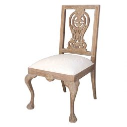 Teak Wood Traditional Style White Washed Upholstered Side Dining Chair