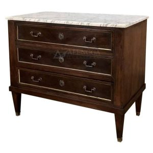 Mahogany French Style Dark Brown Marble Top 3 Drawers