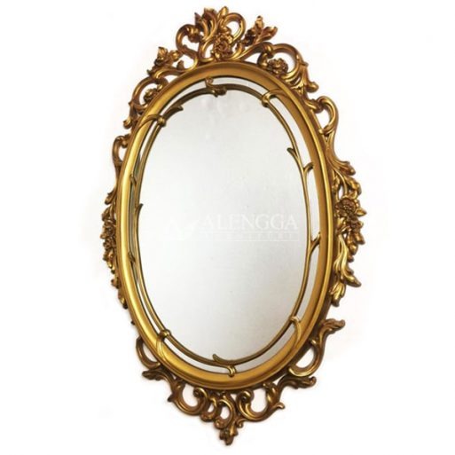 Mahogany Rococo Style Antique Gold Hand Carved Oval Wall Mirror