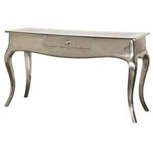 Mahogany French Style Beautiful Silver One Drawer Console Table